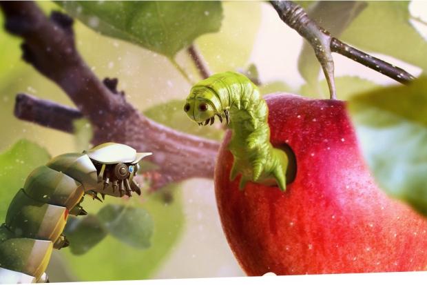 как много картинка гусеница и яблоко них